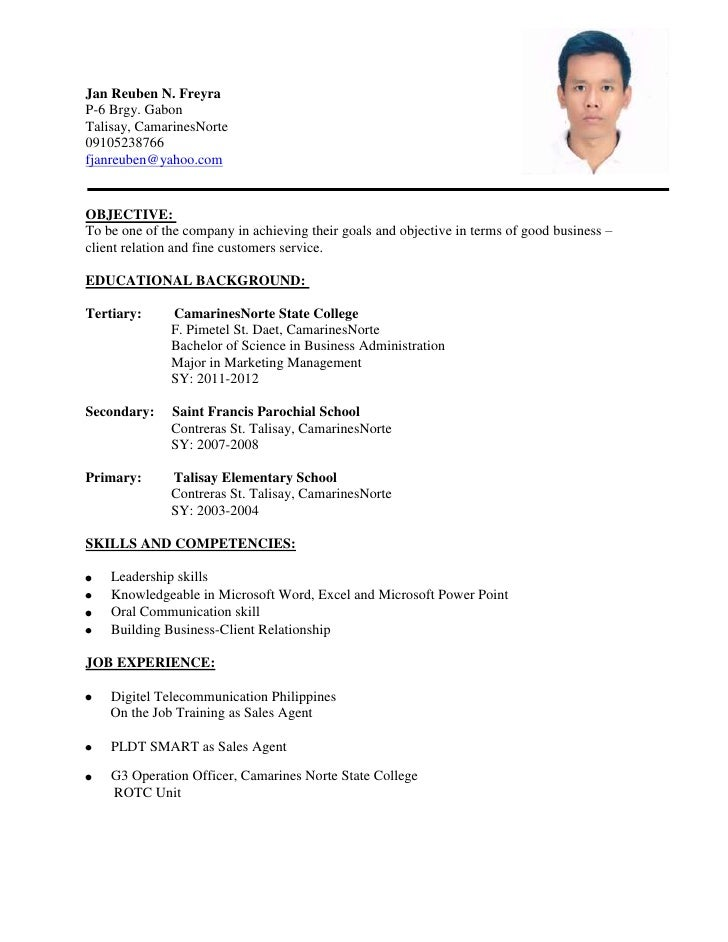 Sample of a student resume