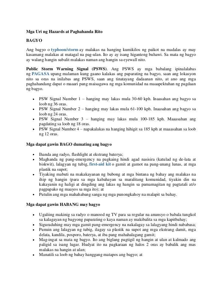 Mga Uri ng Hazards at Paghahanda RitoBAGYOAng bagyo o typhoon/storm ay malakas na hanging kumikilos ng paikot na madalas a...