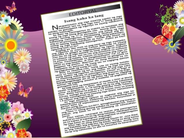 Halimbawa Ng Editoryal Writing Sa Filipino on High School Age Worksheets