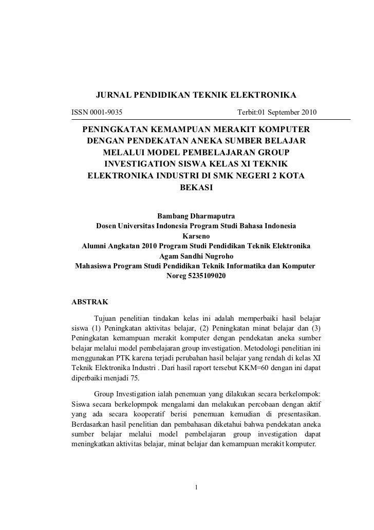 JURNAL PENDIDIKAN TEKNIK ELEKTRONIKAISSN 0001-9035                                       Terbit:01 September 2010   PENING...