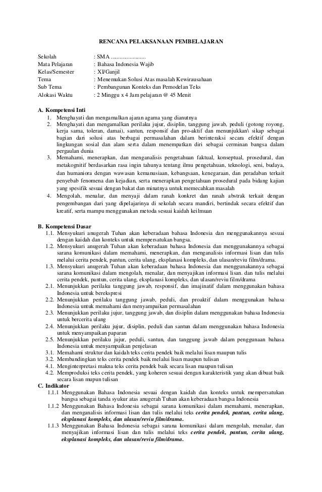 Rpp Bahasa Indonesia Kurikulum Slideshare Net Download Lengkap
