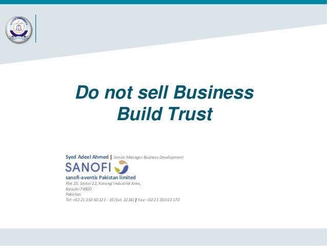 Do not sell Business-Build Trust (Guest Speaker Session at Bahria University Karachi