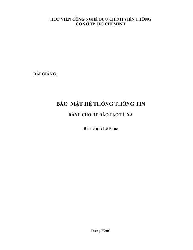 HỌC VIỆN CÔNG NGHỆ BƯU CHÍNH VIỄN THÔNG                CƠ SỞ TP. HỒ CHÍ MINHBÀI GIẢNG            BẢO MẬT HỆ THỐNG THÔNG TI...