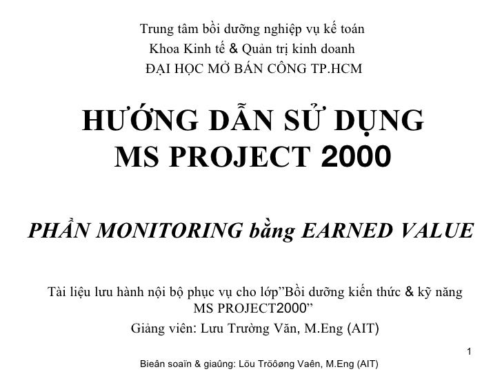 Bai Tap Ms Project Earned Value