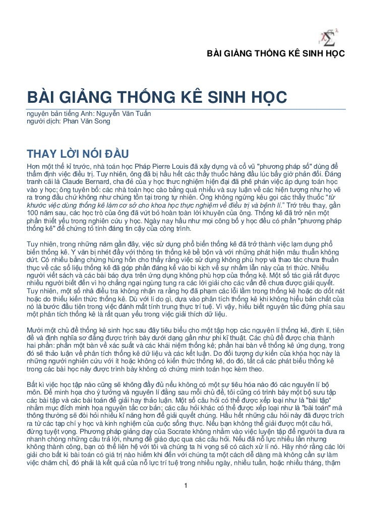 BÀI GIẢNG THỐNG KÊ SINH HỌCBÀI GIẢNG THỐNG KÊ SINH HỌCnguyên bản tiếng Anh: Nguyễn Văn Tuấnngười dịch: Phan Văn SongTHAY L...