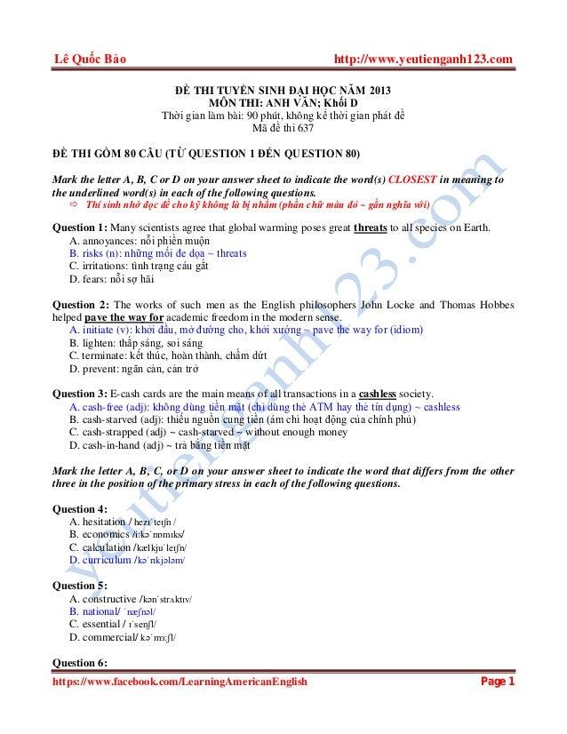 Lê Quốc Bảo http://www.yeutienganh123.com https://www.facebook.com/LearningAmericanEnglish Page 1 ĐỀ THI TUYỂN SINH ĐẠI HỌ...
