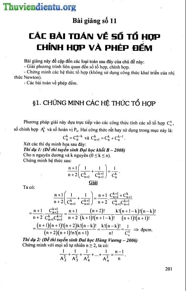 Baigiang11  các bài toán về tổ hợp, chỉnh hợp và phép đếm