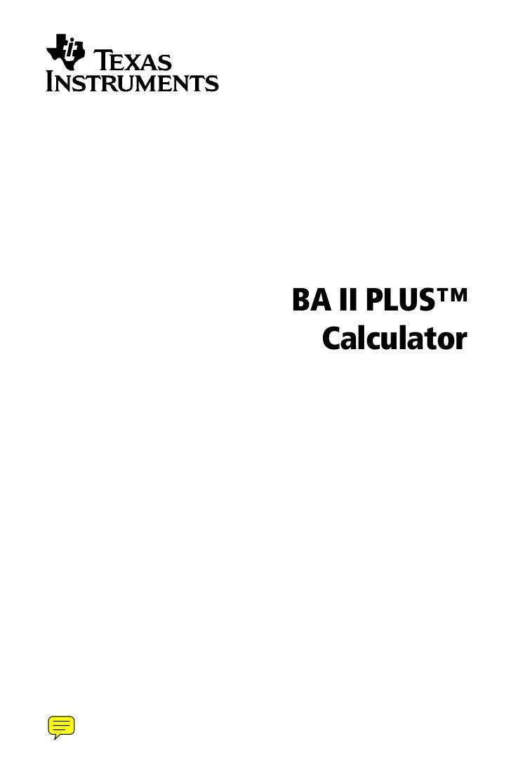 BA II PLUS™  Calculator