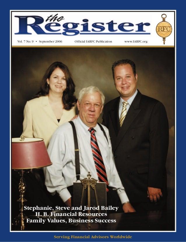 theVol. 7 No. 9 • September 2006   Official IARFC Publication   www.IARFC.org    Stephanie, Steve and Jarod Bailey        ...