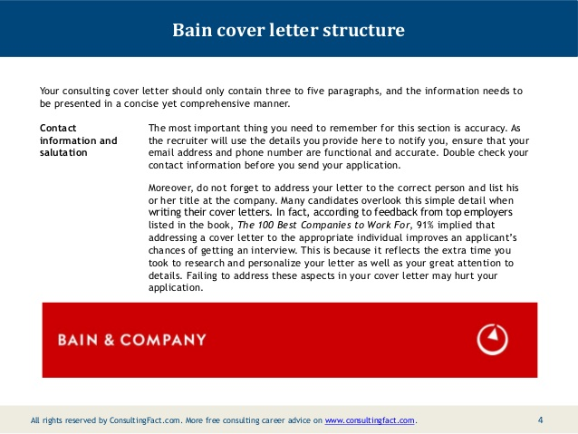 Bain cover letter sample for Cover letter to consultant for job