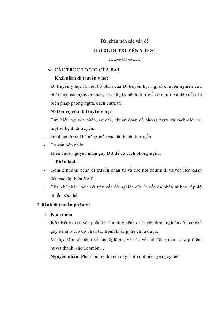 Bài phân tích các vấn đề                               BÀI 21. DI TRUYỀN Y HỌC                                     -----...