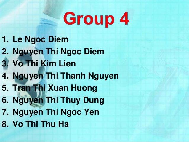 1. Le Ngoc Diem2. Nguyen Thi Ngoc Diem3. Vo Thi Kim Lien4. Nguyen Thi Thanh Nguyen5. Tran Thi Xuan Huong6. Nguyen Thi Thuy...