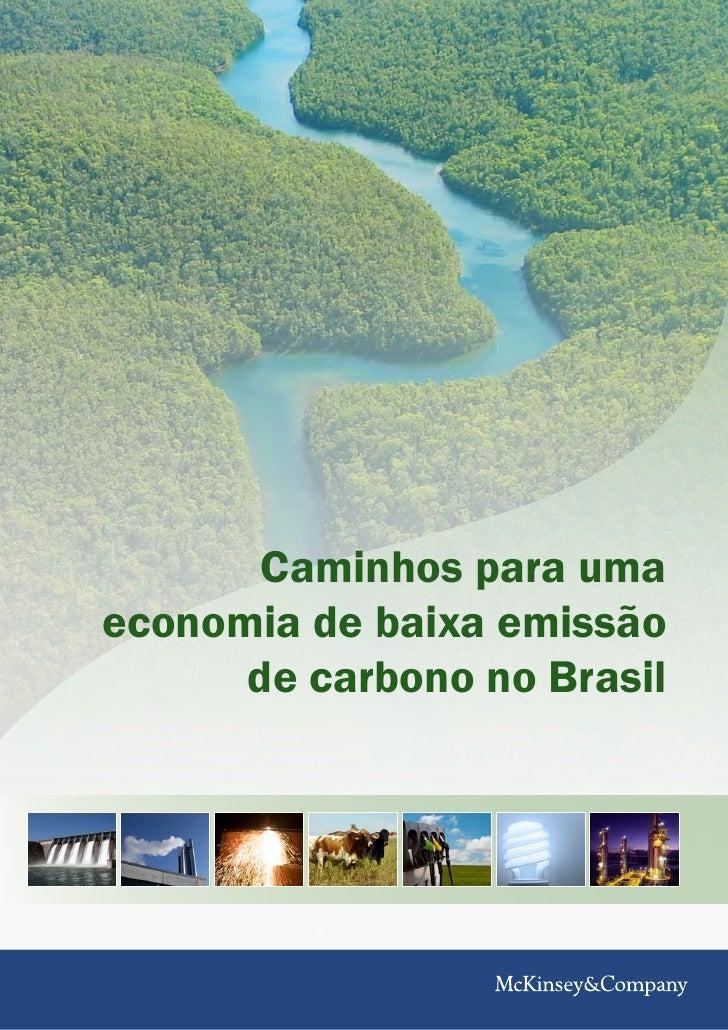 Caminhos para uma economia de baixa emissão       de carbono no Brasil