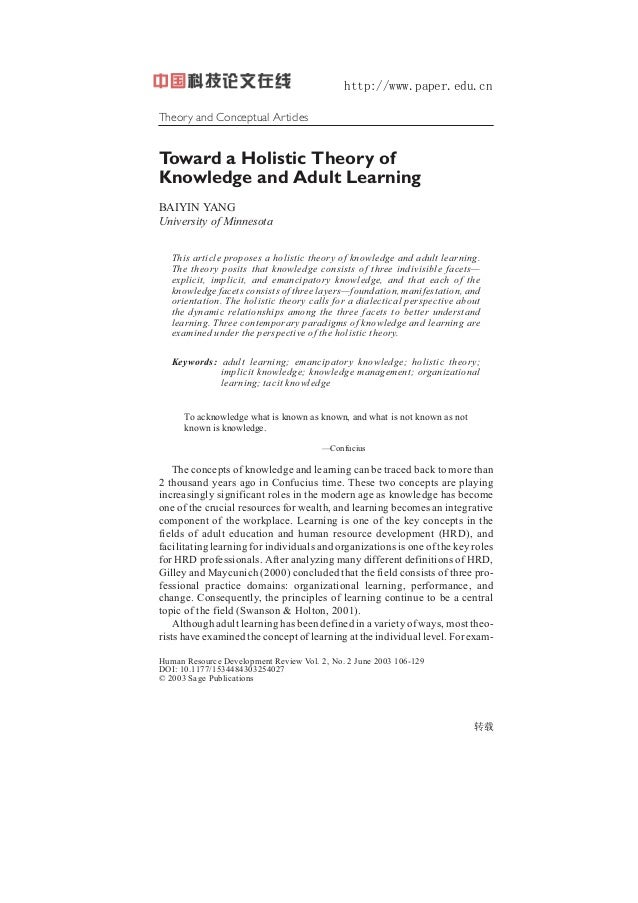 http://www.paper.edu.cn Theory and Conceptual Articles 10.1177/1534484303254027 Human Resource Development Review / June 2...
