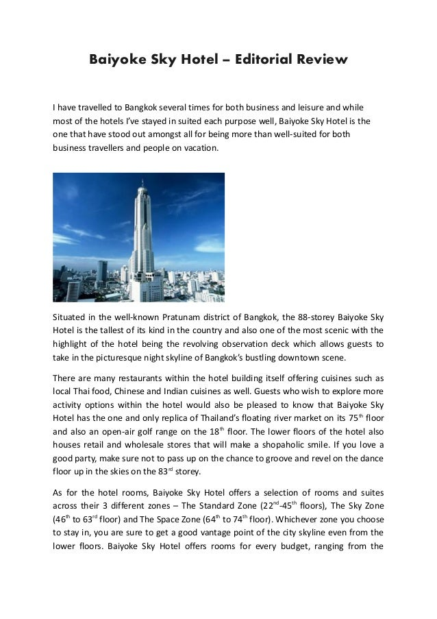 Baiyoke Sky Hotel - Editorial Review