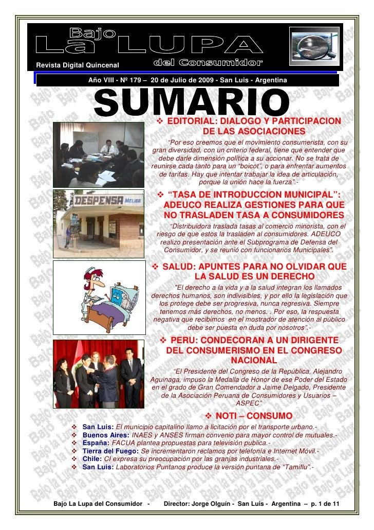 Revista Digital Quincenal                 Año VIII - Nº 179 – 20 de Julio de 2009 - San Luis - Argentina                  ...