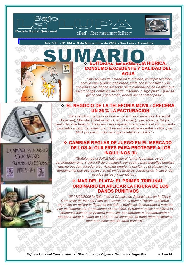 Revista Digital Quincenal                    Año VIII - Nº 184 – 9 de Noviembre de 2009 - San Luis - Argentina            ...