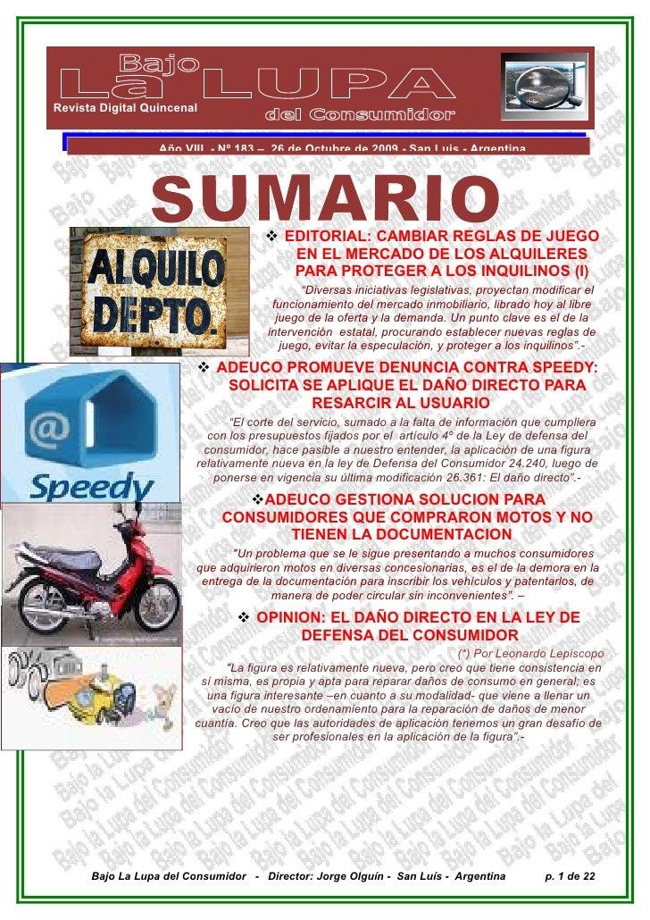 Revista Digital Quincenal                     Año VIII - Nº 183 – 26 de Octubre de 2009 - San Luis - Argentina            ...