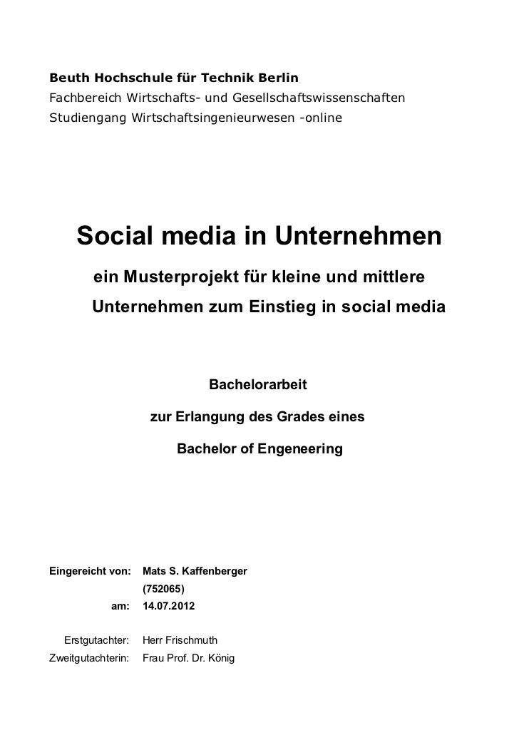 Beuth Hochschule für Technik BerlinFachbereich Wirtschafts- und GesellschaftswissenschaftenStudiengang Wirtschaftsingenieu...