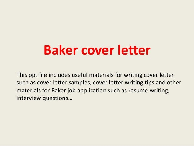 cover letter for a bakery