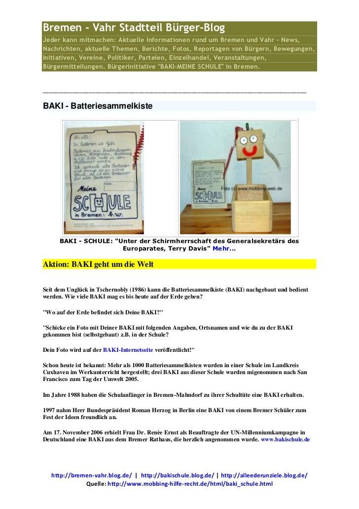 Bremen - Vahr Stadtteil Bürger-BlogJeder kann mitmachen: Aktuelle Informationen rund um Bremen und Vahr - News,Nachrichten...