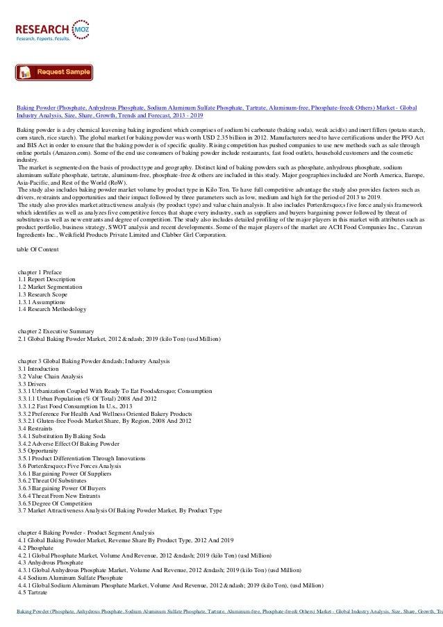 Baking Powder (Phosphate, Anhydrous Phosphate, Sodium Aluminum Sulfate Phosphate, Tartrate, Aluminum-free, Phosphate-free&...