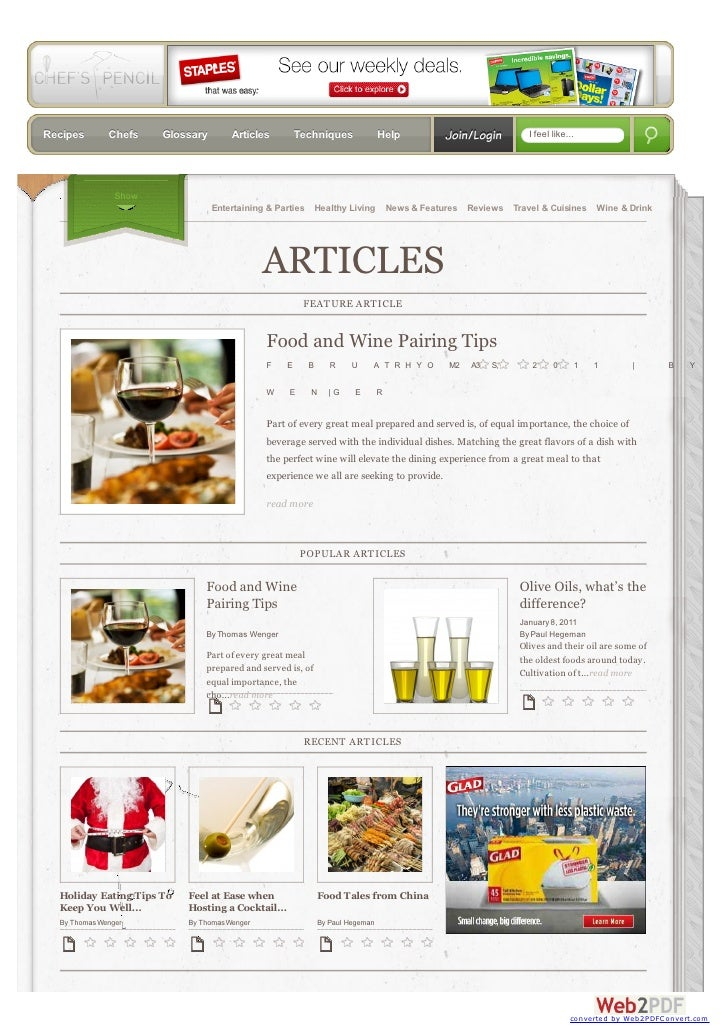 Recipes       Chefs    Glossary       Articles         Techniques              Help      Join/Login       I feel like...  ...