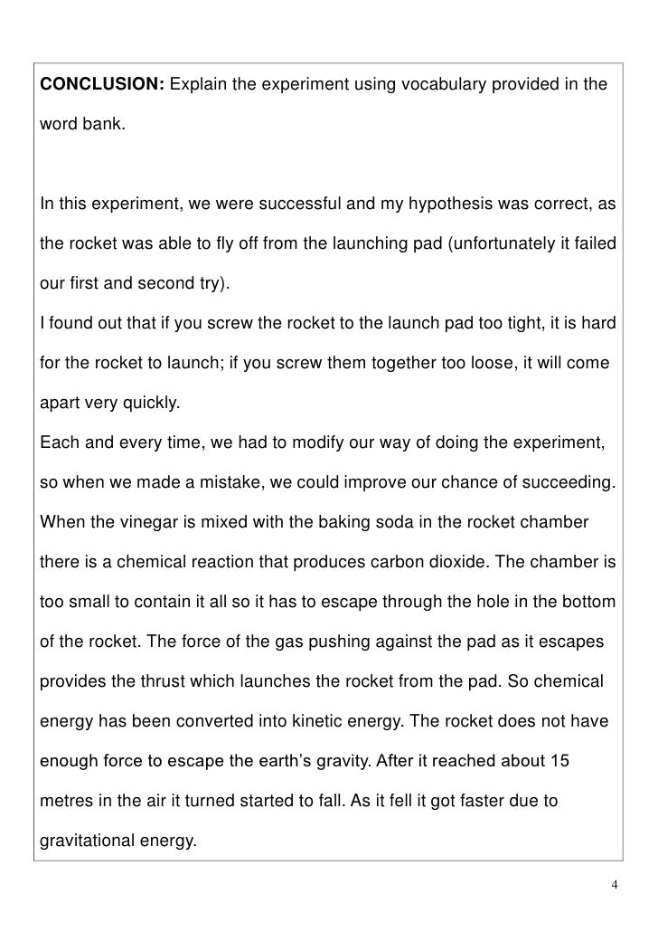 Baking soda and vinegar experiment report