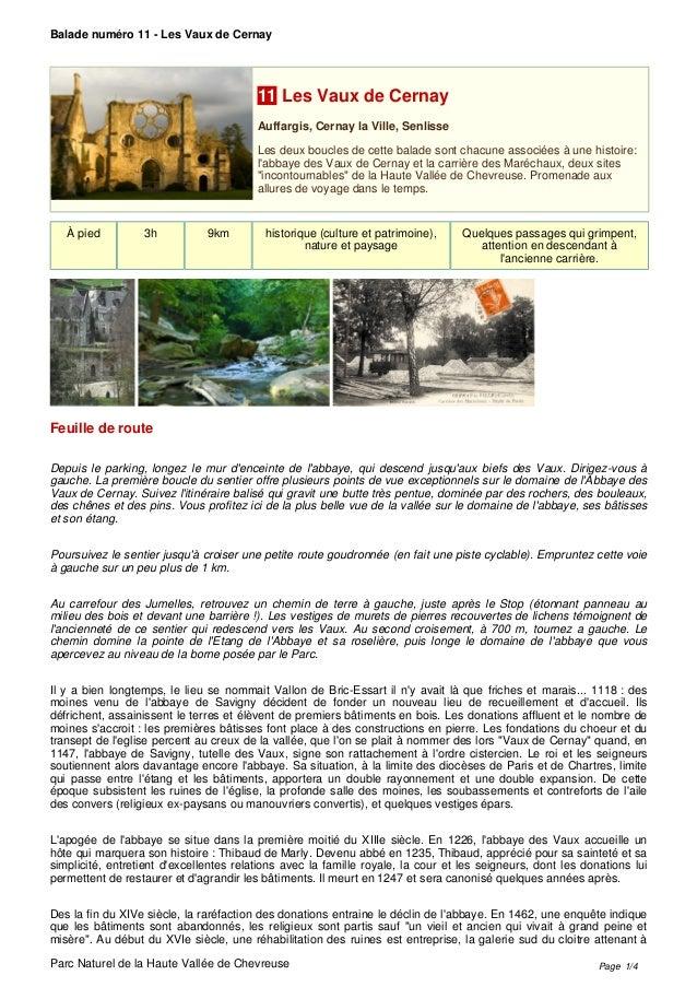 Balade numéro 11 - Les Vaux de Cernay Parc Naturel de la Haute Vallée de Chevreuse 11 Les Vaux de Cernay Auffargis, Cernay...
