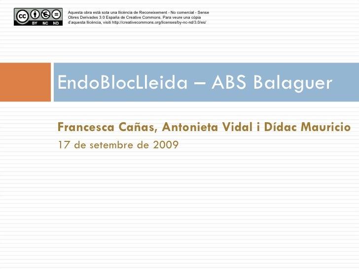EndoBlocLleida – ABS Balaguer <ul><li>Francesca Cañas, Antonieta Vidal i Dídac Mauricio </li></ul><ul><li>17 de setembre d...
