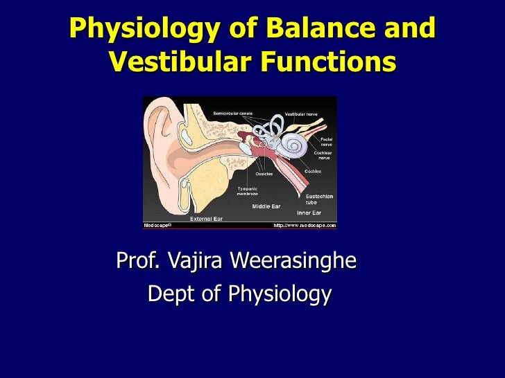 Physiology of Balance and Vestibular Functions Prof. Vajira Weerasinghe  Dept of Physiology