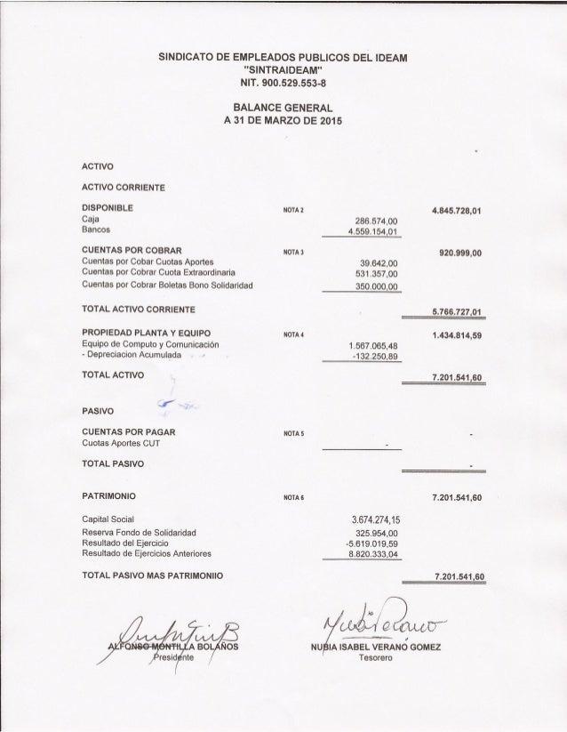 """SINDICATO DE EMPLEADOS PUBLICOS DEL IDEAM """"SlNTRAlDEAM"""" NIT.  900.529.5536  BALANCE GENERAL A 31 DE MARZO DE 2015  ACTIVO ..."""