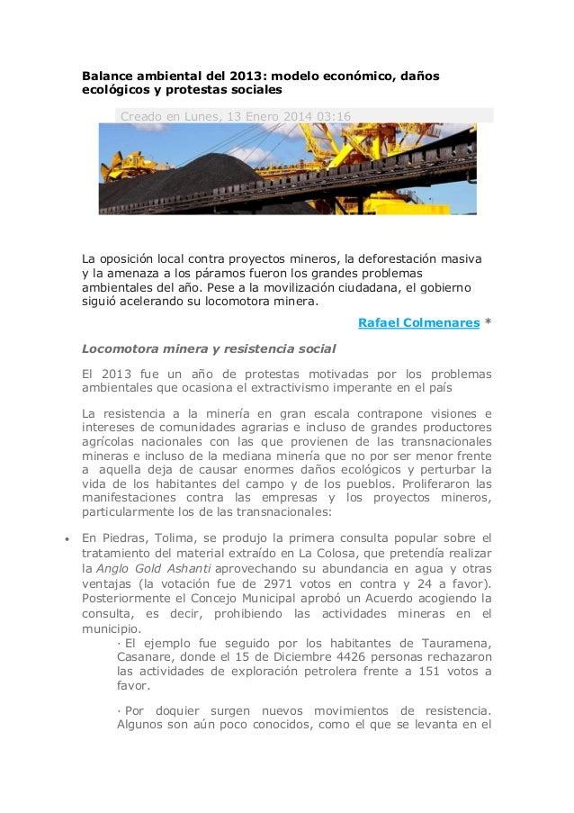 Balance ambiental del 2013: modelo económico, daños ecológicos y protestas sociales