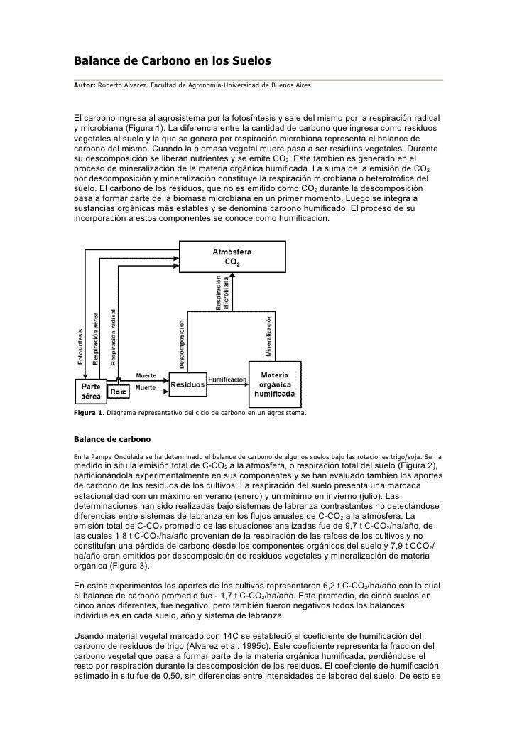 Balance de Carbono en los Suelos Autor: Roberto Alvarez. Facultad de Agronomía-Universidad de Buenos Aires    El carbono i...