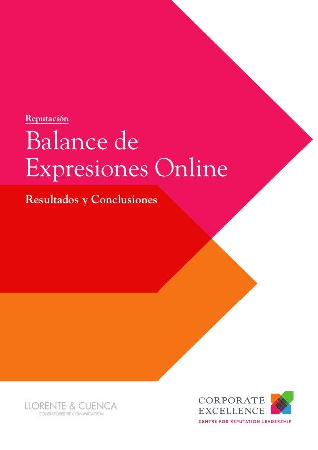 Resultados y ConclusionesBalance deExpresiones OnlineReputación