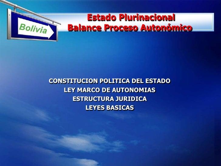 Estado Plurinacional             Balance Proceso Autonómico <br />CONSTITUCION POLITICA DEL ESTADO <br />LEY...