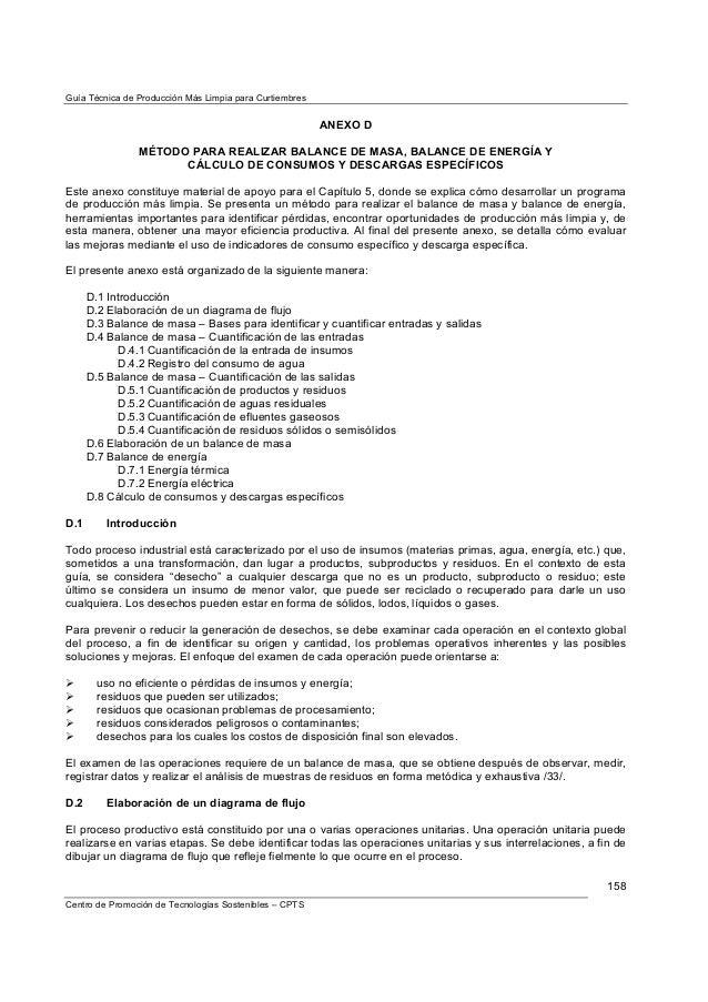 Guía Técnica de Producción Más Limpia para Curtiembres                                                         ANEXO D    ...