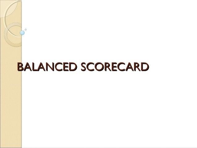 Balanced scorecard