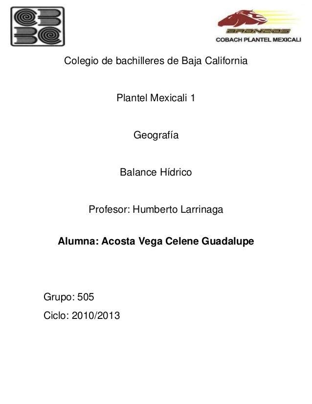 Colegio de bachilleres de Baja California               Plantel Mexicali 1                     Geografía                  ...