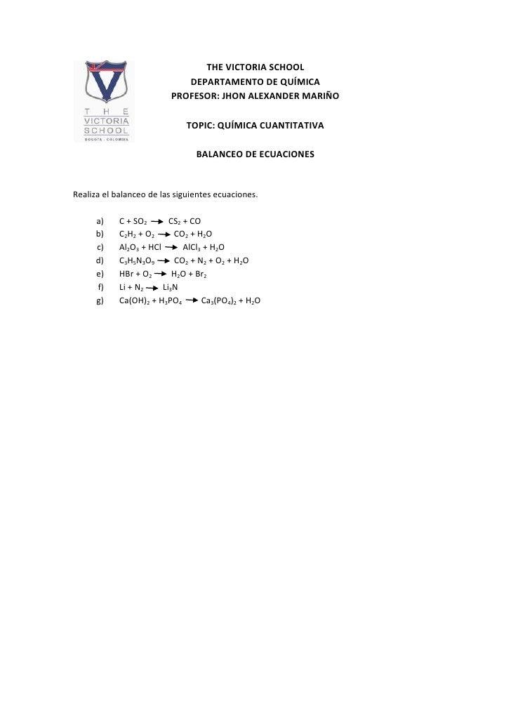 15239-4446THE VICTORIA SCHOOL<br />DEPARTAMENTO DE QUÍMICA<br />PROFESOR: JHON ALEXANDER MARIÑO <br />TOPIC: QUÍMICA CUANT...