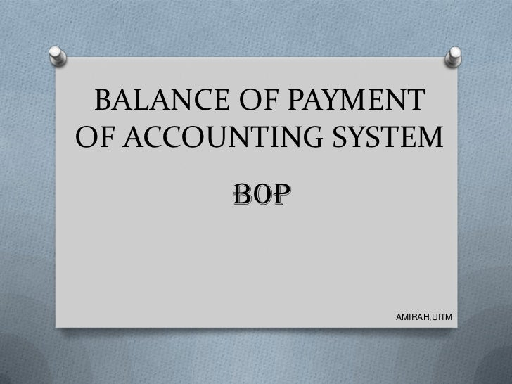 BALANCE OF PAYMENTOF ACCOUNTING SYSTEM        BOP                 AMIRAH,UITM