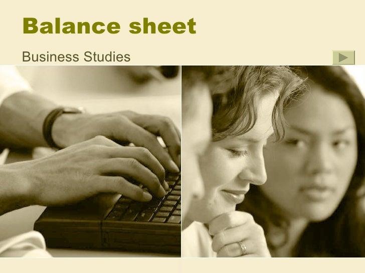 Balance sheetBusiness Studies