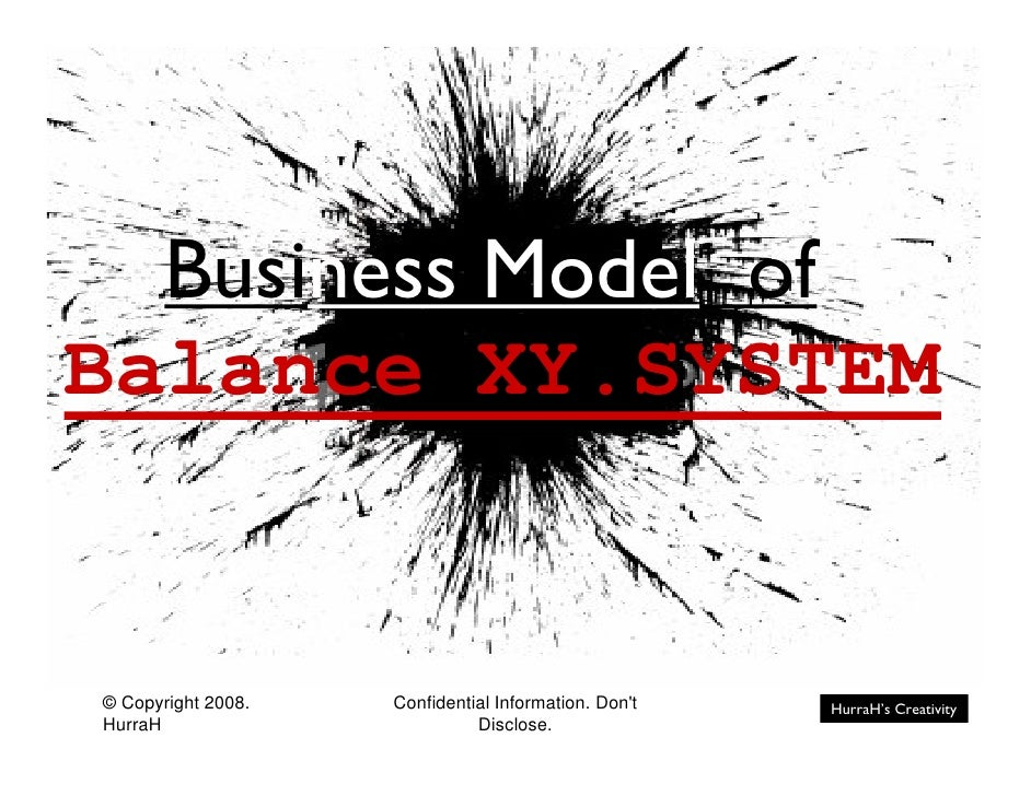 Business Model of Balance XY.SYSTEM   © Copyright 2008.   Confidential Information. Don't   HurraH's Creativity HurraH    ...