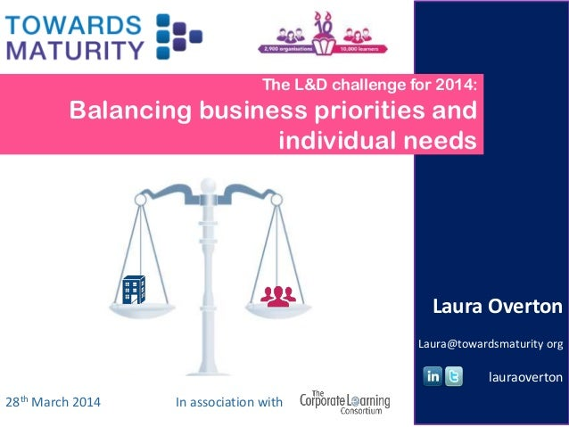 The L&D challenge for 2014: Balancing business priorities and individual needs 28th March 2014 Laura Overton Laura@towards...