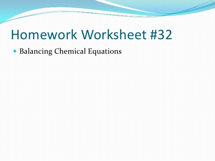 Homework help for balancing chemical equations
