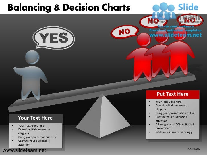 Balancing decision see saw charts powerpoint ppt templates.