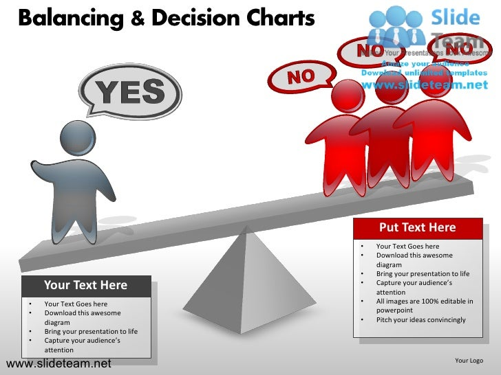 Balancing decision see saw  charts powerpoint presentation templates.
