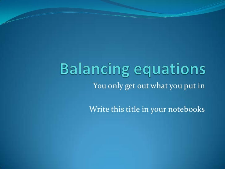 balancing equation machine