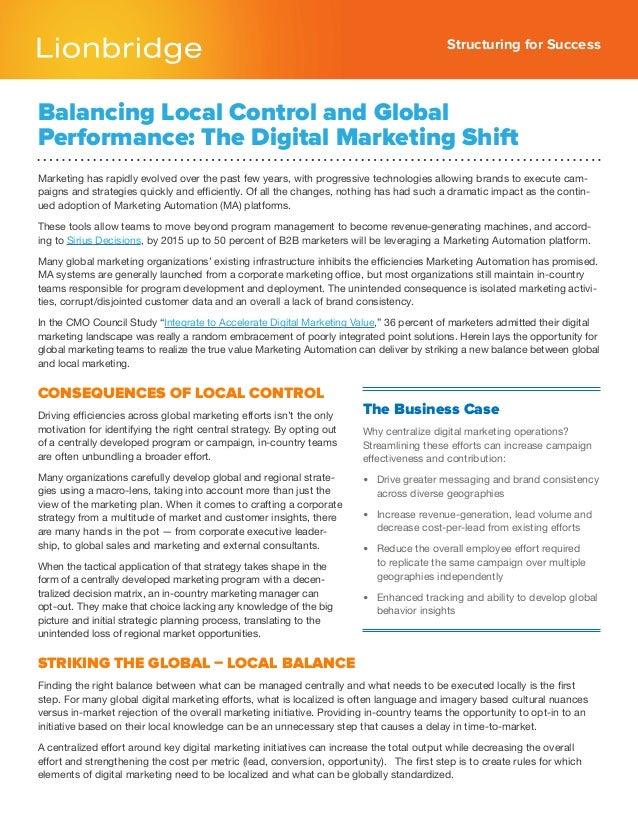 Balancing Local Control and Global  Performance: The Digital Marketing Shift
