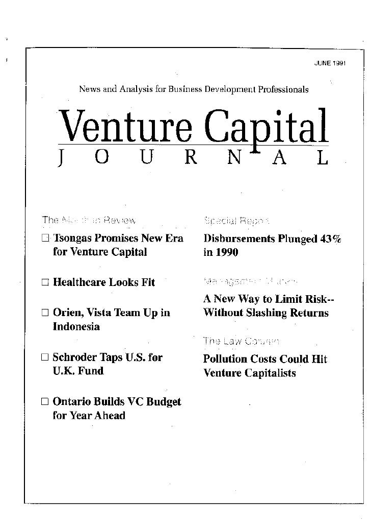 Balancing Risk & Return Tom Nastas Article In Us Venture Capital Journal